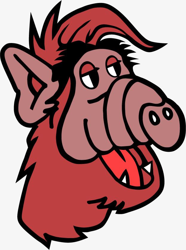 红色猪头可爱png矢量素材