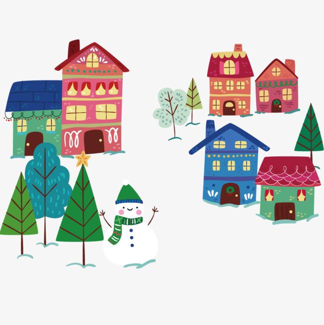 漂亮的村庄背景手绘彩色房子