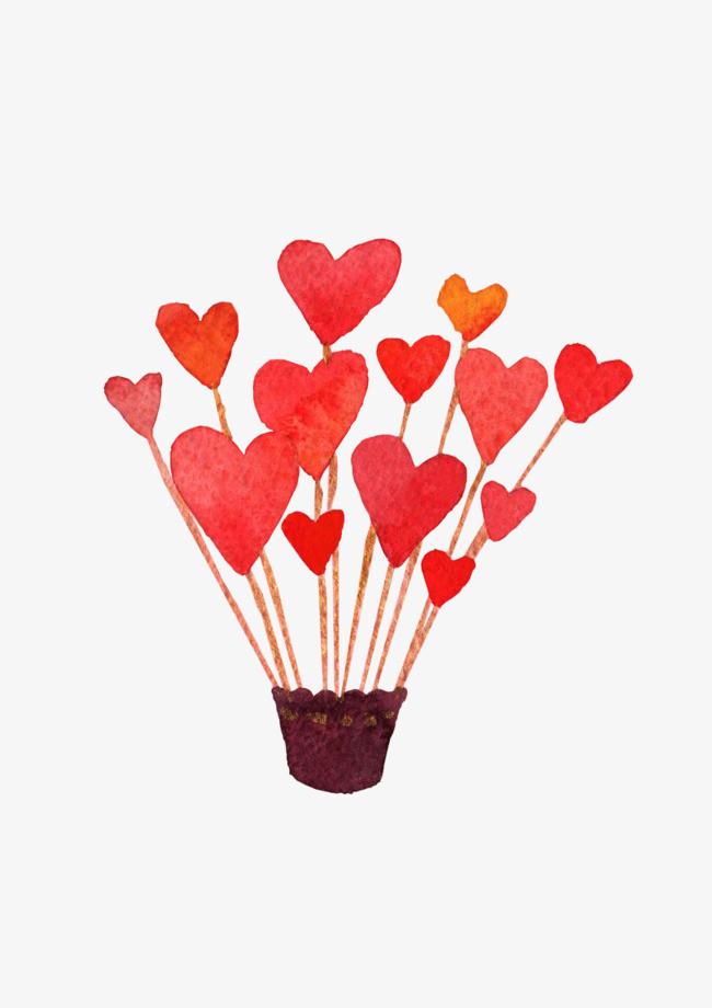 水彩手绘爱心热气球