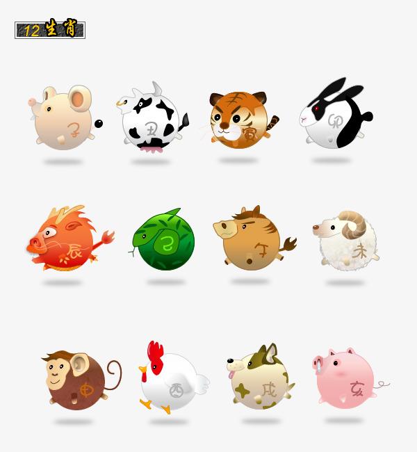 手绘12生肖的动物合集