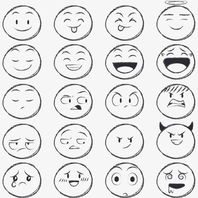 铅笔手绘圆脸表情矢量素材图片