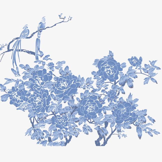 蓝色手绘花朵插图png素材-90设计
