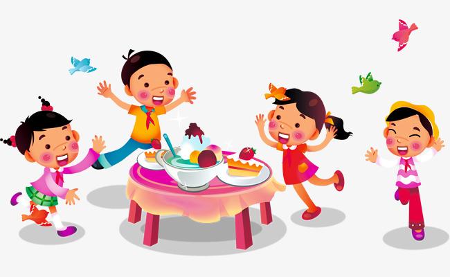 卡通儿童聚餐免抠PNG图片素材图片免费下载 高清卡通手绘png 千库网 图片编号6453132