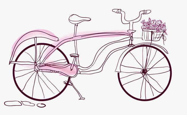 矢量手绘自行车简笔画