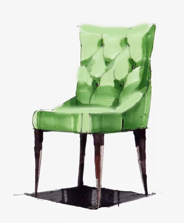 水彩手绘绿色沙发【高清装饰元素png素材】-90设计