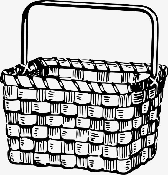黑白色的手绘卡通篮子图片
