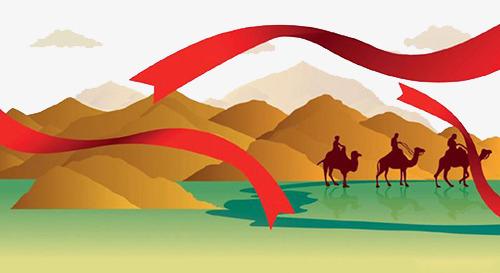 古代丝绸之路插画【高清装饰元素png素材】-90设计图片