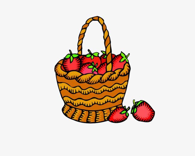 卡通篮子草莓图片