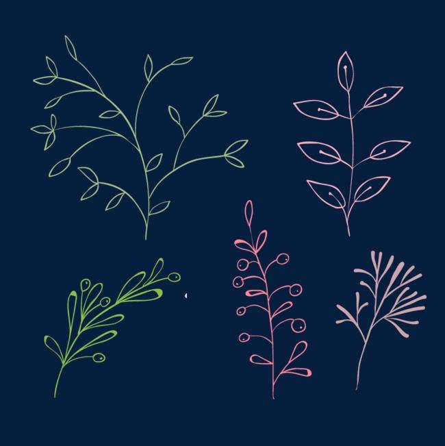 手绘彩色小草png素材-90设计