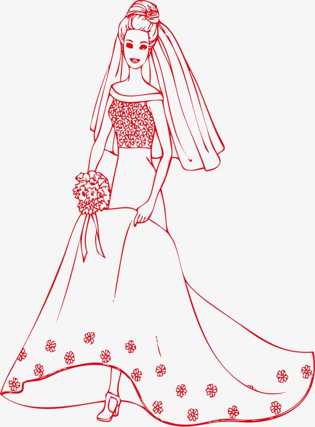 新娘婚纱裙子矢量