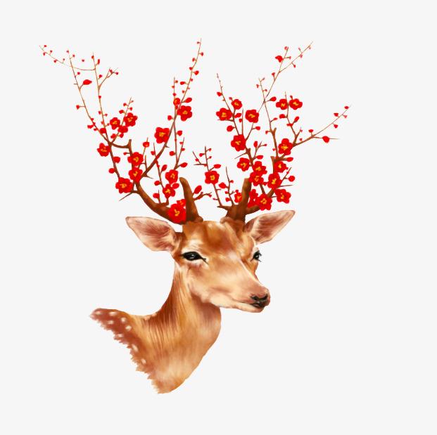 可爱手绘梅花鹿