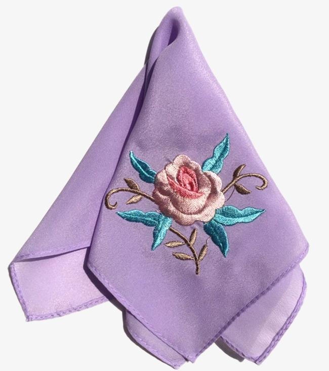 浅紫色刺绣玫瑰手绢免费下载