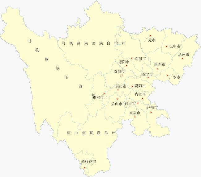 四川省矢量地图中国省份地图矢量地图矢量四川省地图免费下载白色矢