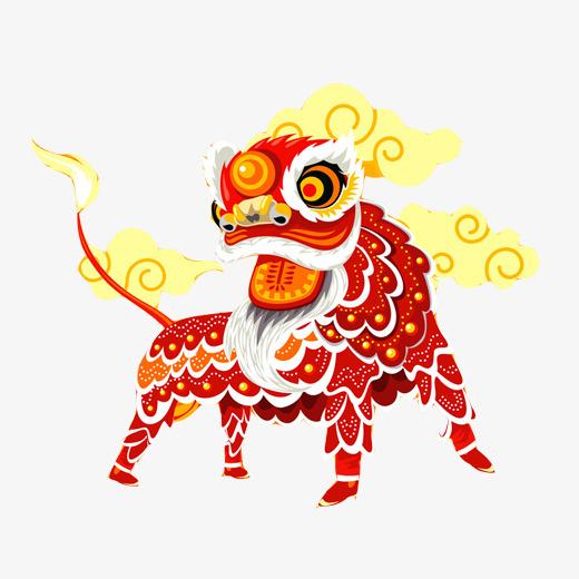 舞狮手绘效果图素材图片【高清装饰元素png素材】-90