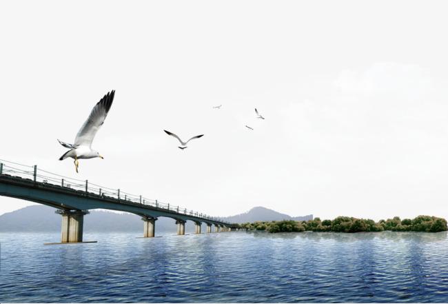 跨海大桥平面装饰素材图片免费下载 高清装饰图案psd 千库网 图片编