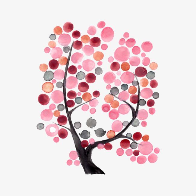 卡通手绘创意粉色系树叶