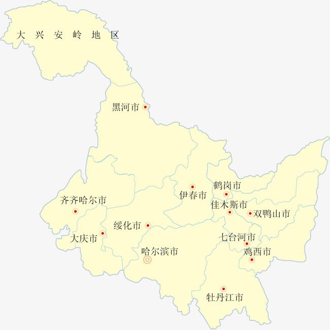 黑龙江矢量地图矢量地图省份地图省级行政区地图中国省份地图矢量-