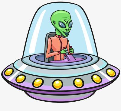 外星人开着宇宙飞船图片