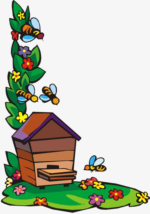 手绘蜜蜂采蜜