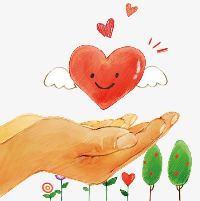 卡通双手捧爱心素材图片免费下载 高清卡通手绘psd 千库网 图片编号6481668