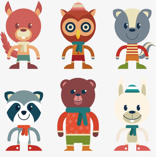 动物角色穿着冬季衣服