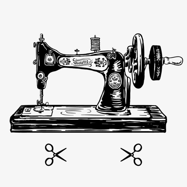 矢量手绘缝纫机