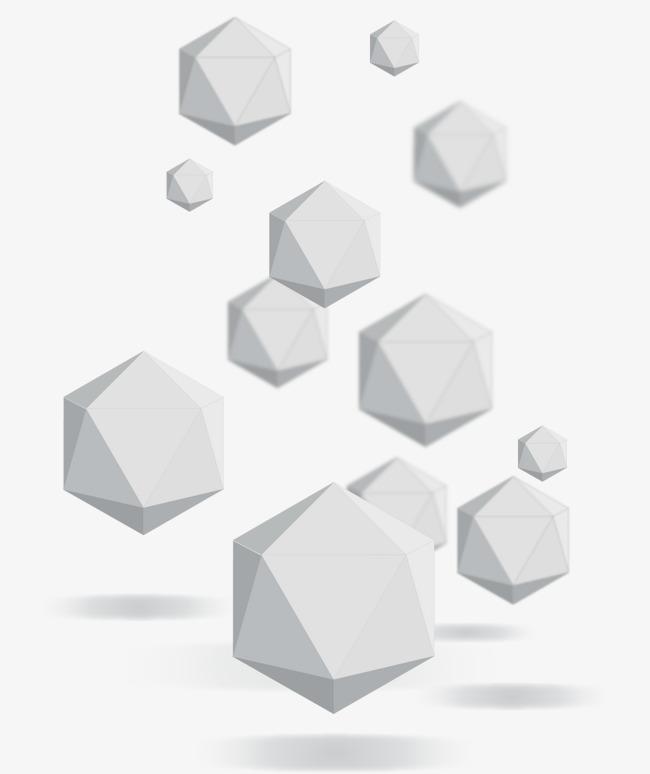 矢量手绘立体几何形