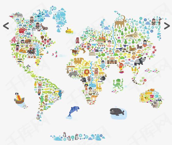 卡通世界地图素材图片免费下载 高清卡通手绘png 千库网 图片编号6500703