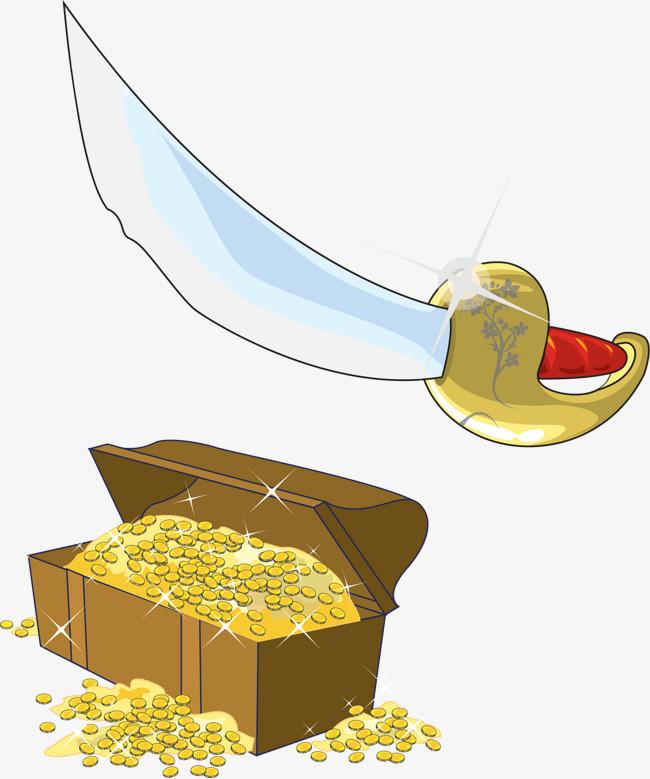 着弯月刀_矢量海盗弯月刀珠宝箱
