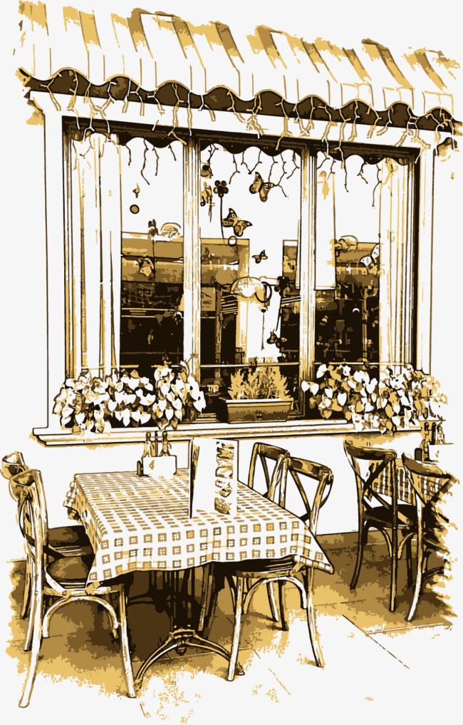 矢量手绘复古咖啡厅png素材-90设计