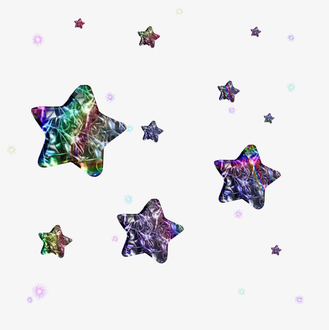 七彩炫彩星星素材免抠