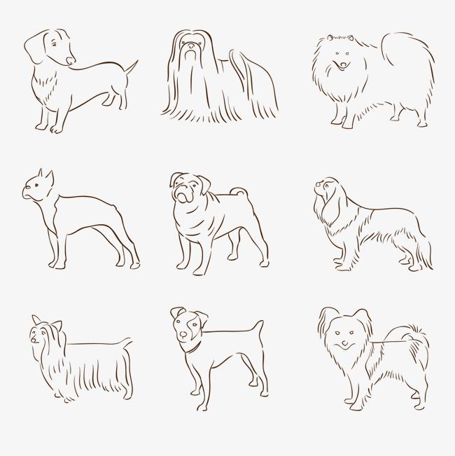 手绘线条宠物狗设计矢量素材