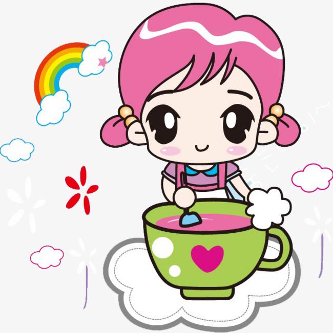 卡通插画吃饭可爱女娃娃图片