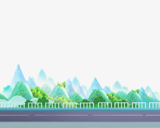 2017卡通公路远山绿色图片