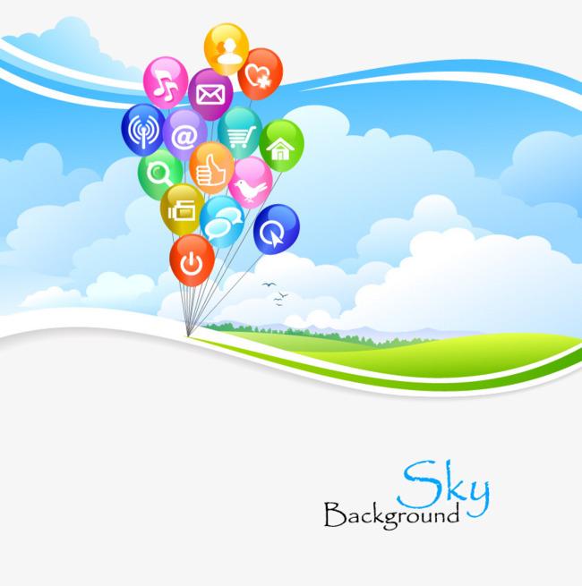 ppt商务气球蓝色天空素材图片