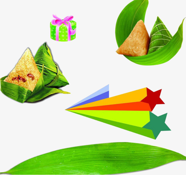 绿色卡通粽子叶素材