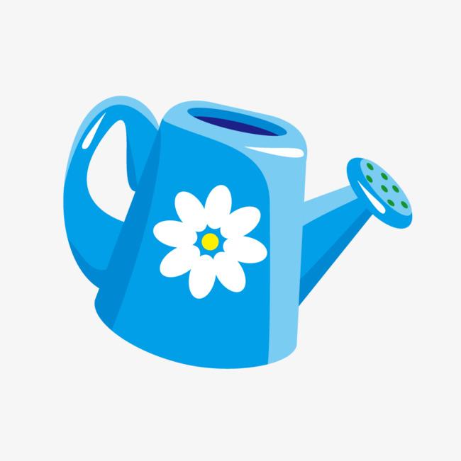 蓝色矢量卡通洒水壶