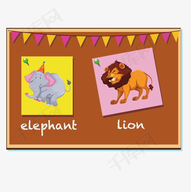 矢量动物图彩旗小黑板狮子认知