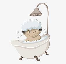 宝宝漫画在洗澡和玩耍的漫画手插插画钢图片