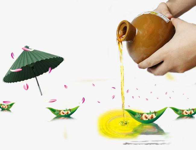 中国风粽子叶小船素材背景