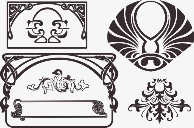 欧式复古标题框装饰【高清边框纹理png素材】-90设计
