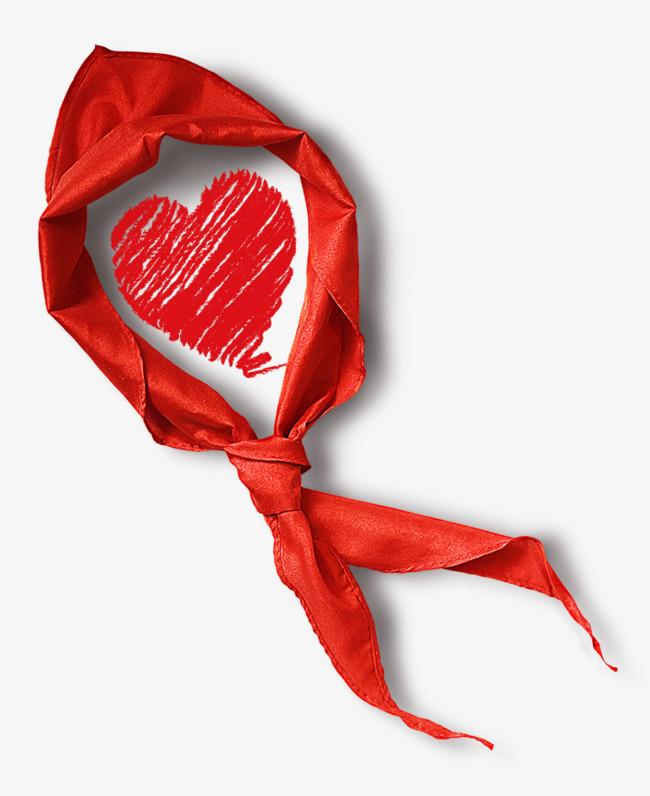 红领巾 手绘 桃心 卡通 少先队             此素材是90设计网官方