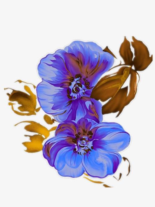 蓝色的手绘海棠花