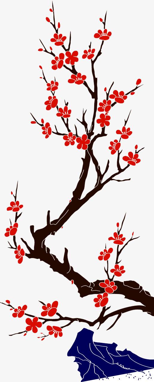 图片 > 【png】 大红色手绘梅花树枝素材