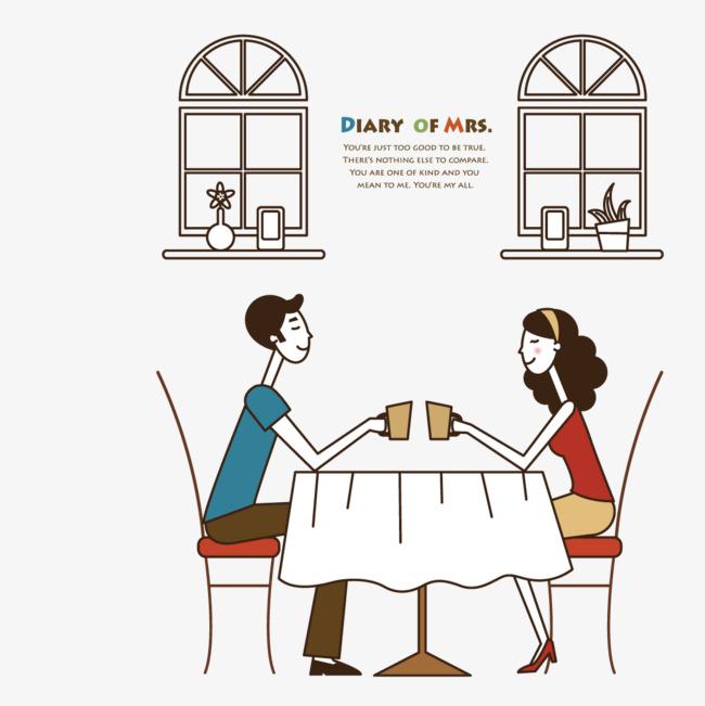 90设计提供高清png手绘动漫素材免费下载,本次在咖啡厅约会的情侣作品