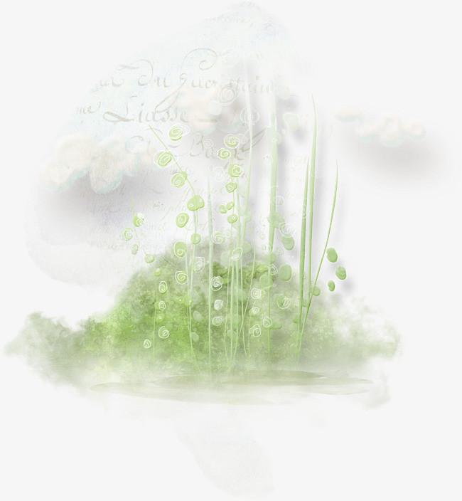 手绘云朵枝叶草丛