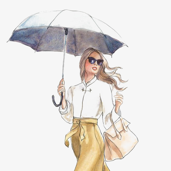 手绘画母爱雨天打伞