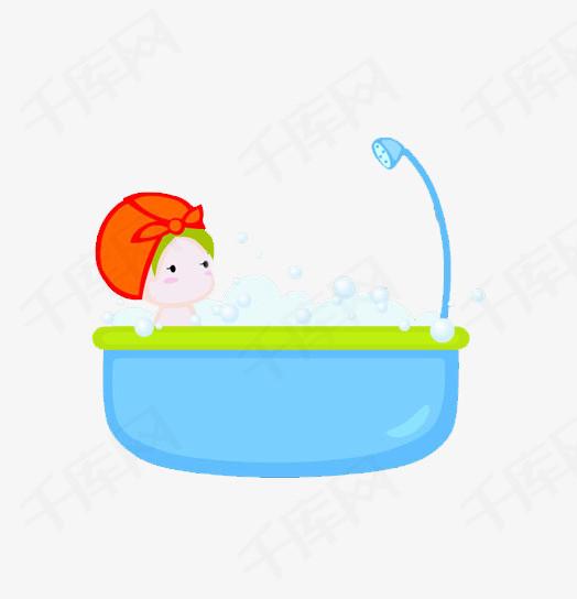 卡通女孩浴缸泡澡素材图片免费下载_高清卡通手绘png