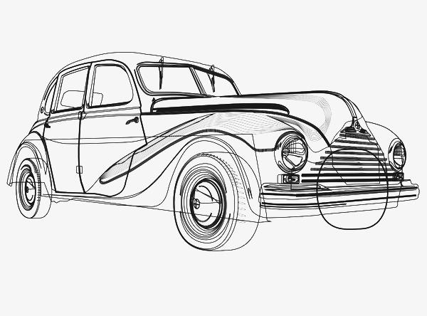老式汽车手绘线稿