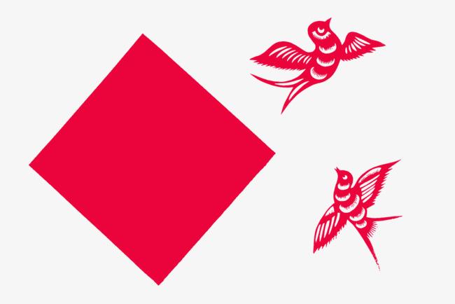 红色燕子剪纸png素材-90设计